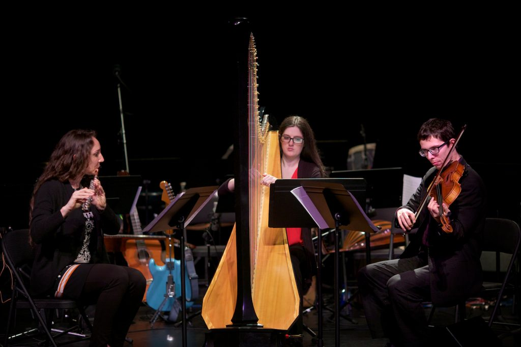 "Rachel Mellis, Jacqueline Marshall and Ben Bartelt perform ""Crossing."" (Felix Salazar)"